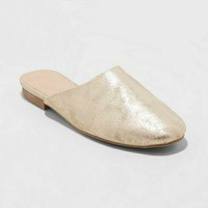 Gold Slip On Mules Round Toe